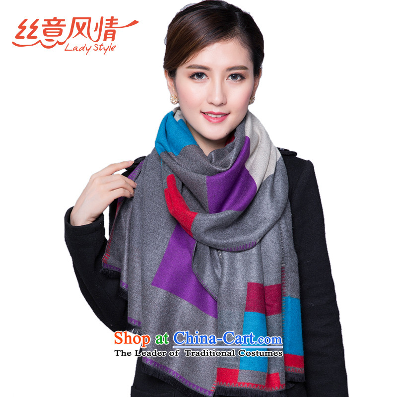 The population to feel a gray checkered thick winter female two-sided pull gross shawl Jacquard Scarf Warm gray impression of purple
