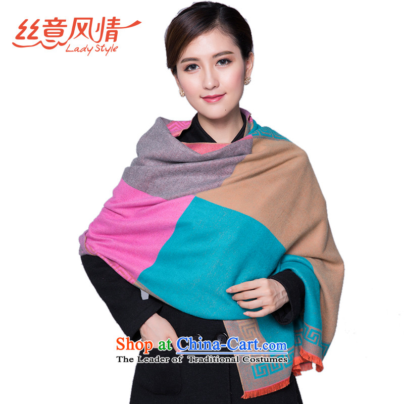 The population to feel a thick tartan female two-sided pull gross shawl winter Jacquard Scarf more warm color blocks