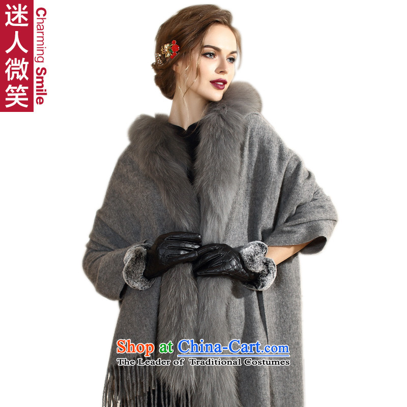 The charming smile fur autumn and winter wind winter campaign in Europe for Ms. sub gross wool velvet shawl cloak handkerchief also upscale female cream Gray