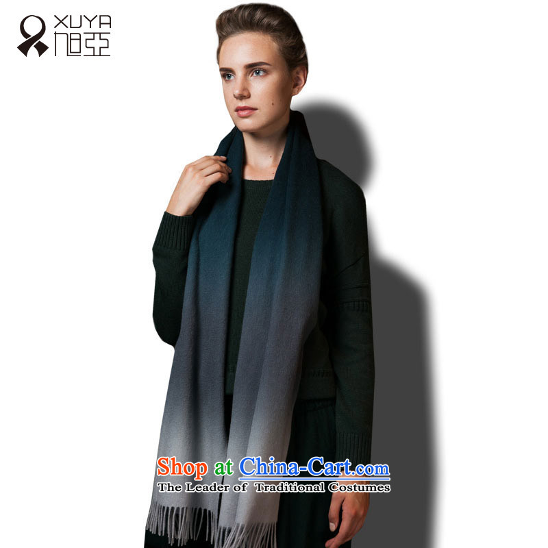 Ms. Ya wool of dyed scarf simple and stylish autumn and winter warm thick) DARK BLUE/DARK GRAY