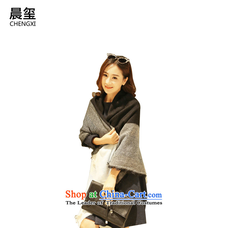 Ms. scarves Seal spring and autumn morning winter shawl emulation Cashmere scarf of dual-use and classy and stylish Korean wild warm latticed 143_143 scarves black