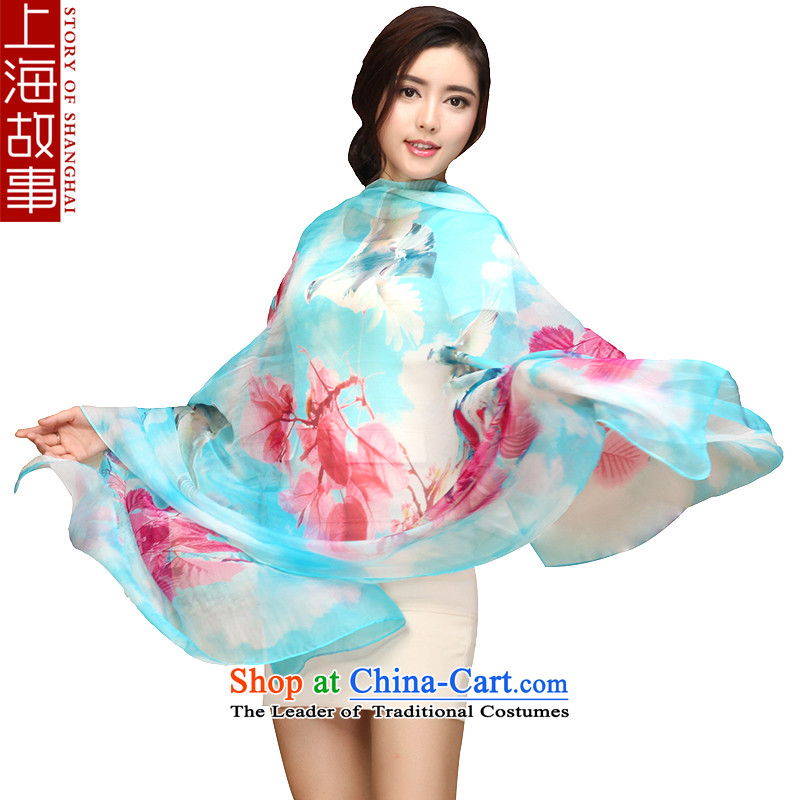 Shanghai Story silk scarves President Dos Santos silk scarves sunscreen air-conditioning shawl masks in mangrove leaf