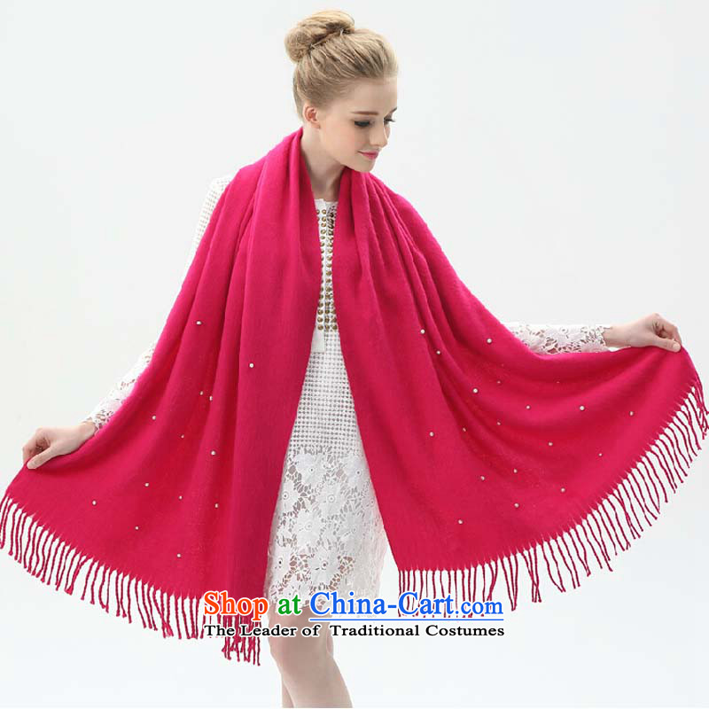 The Korean version of the new spring and autumn winter with the double-sided cashmere sweater two female scarves knitted sweet large flow of a woman's warm pearl women aristocratic air-conditioned  Red Shawl