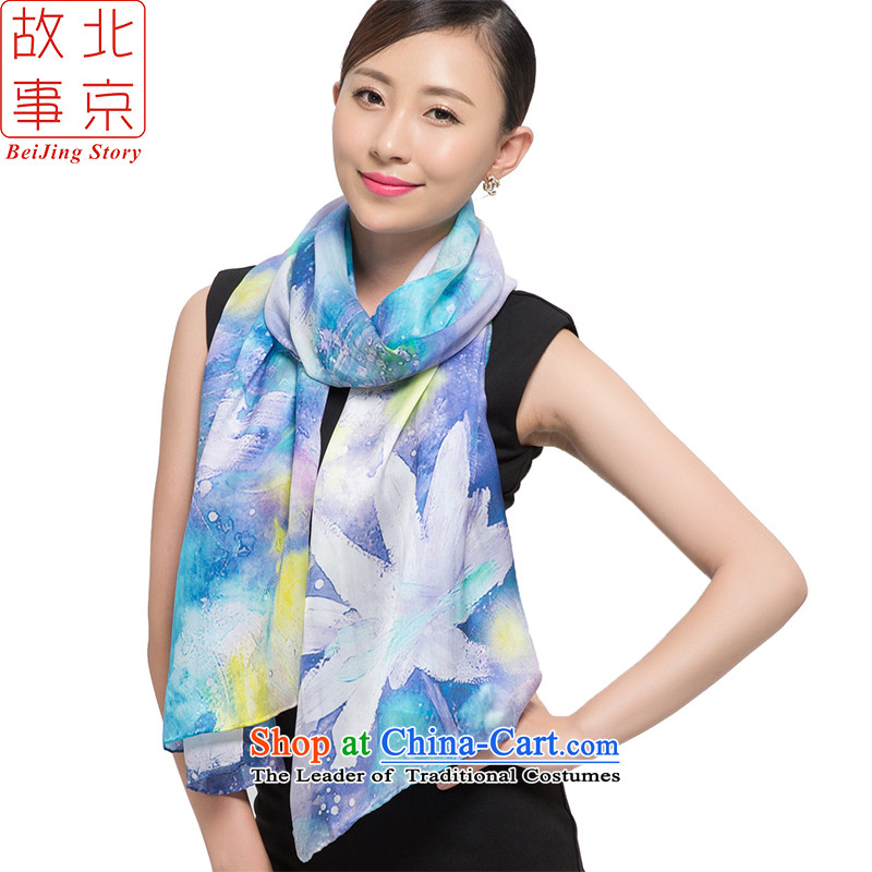 Beijing story 2015 silk scarves, Satin Poster digital large scarf herbs extract shawl 178057 ink spend blue