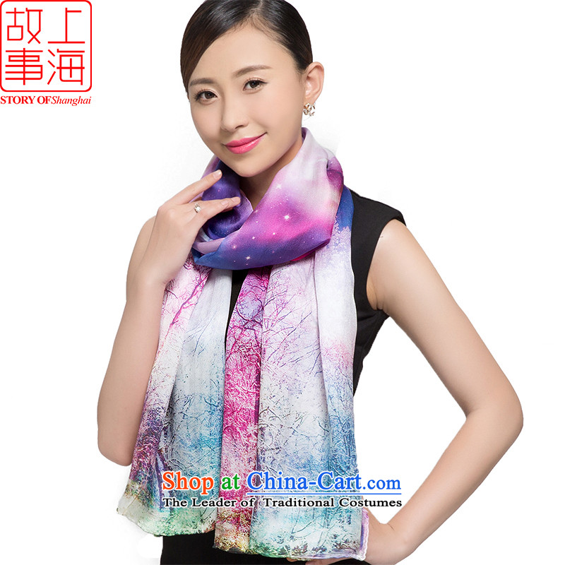 Shanghai Story 2015 silk scarves, Satin Poster digital large scarf herbs extract 187057 of the tree of the starry sky shawl