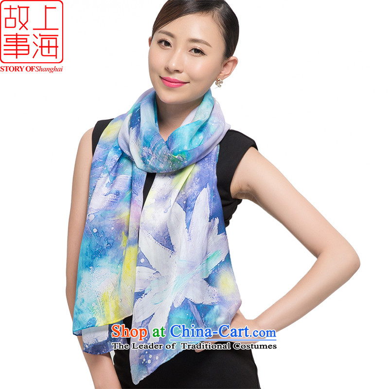 Shanghai Story 2015 silk scarves, Satin Poster digital large scarf herbs extract shawl 187057 ink spend blue