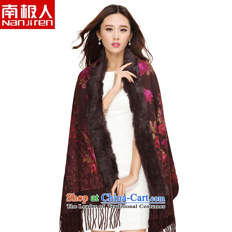 Antarctic people fall and winter 2015 New Coarse wool spinning wool embossed fur shawl deep coffee