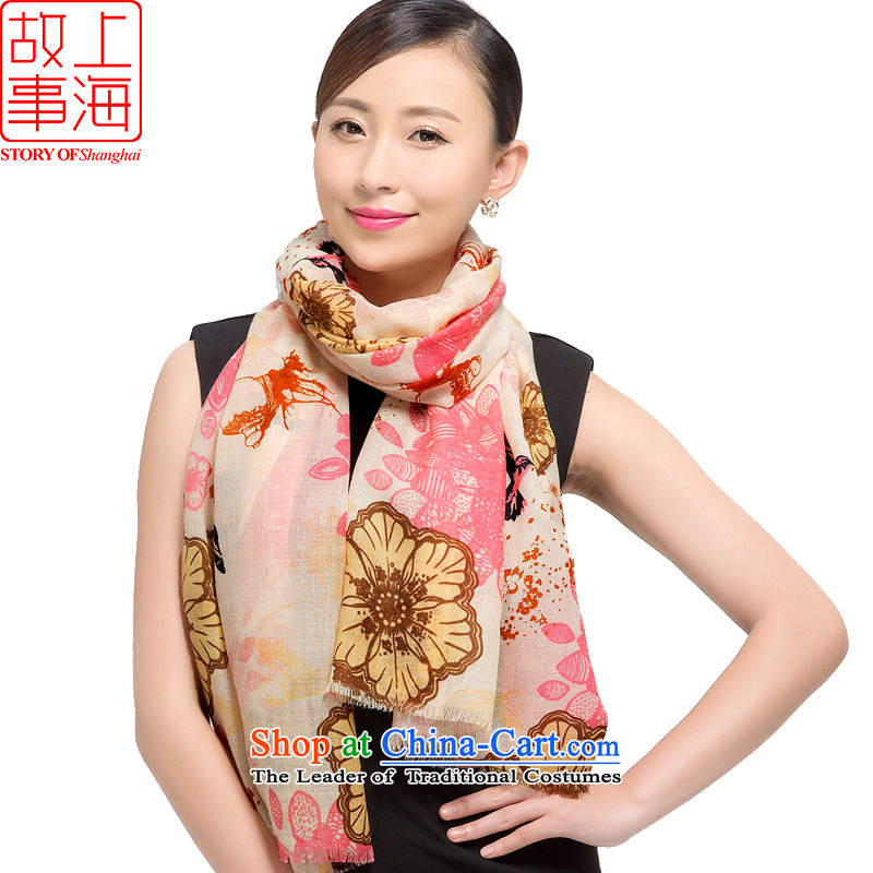 Shanghai Story2015 new stamp Ms. scarves wool warm winter long shawl ballad178012Pink