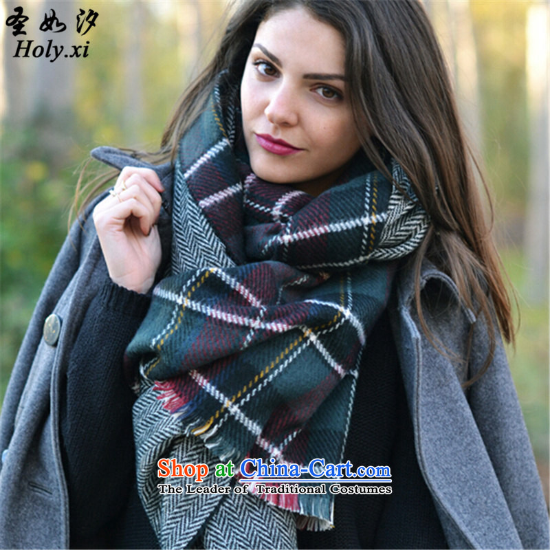 The Holy as pat (holy.xi) autumn and winter new western warm thick latticed long soft plaid scarf QS6932 Picture Color