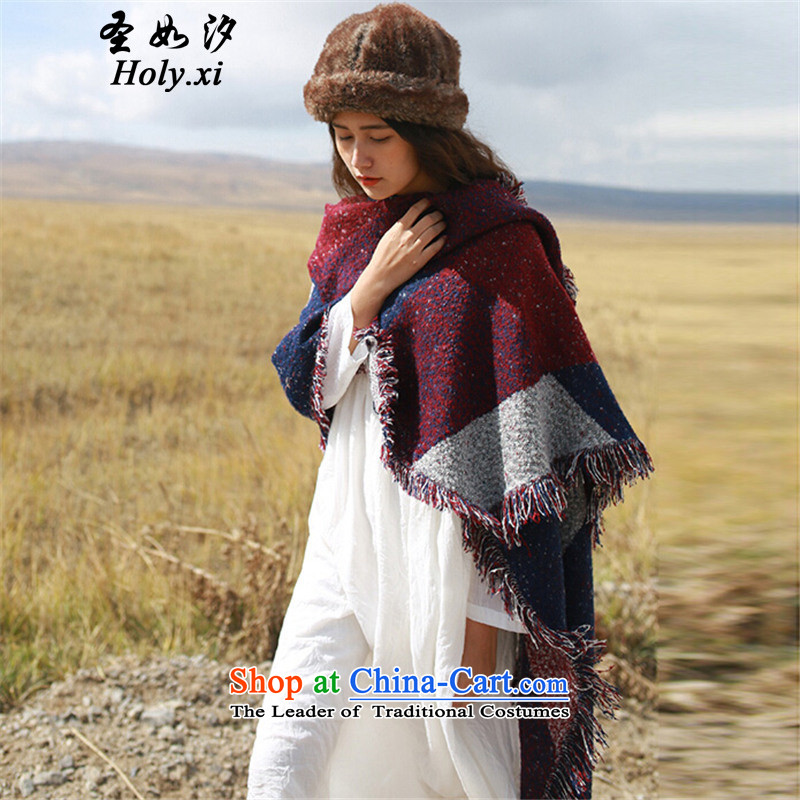 The Holy as pat (holy.xi) autumn and winter arts van ethnic emulation cashmere edging oversized color grid shawl thick warm color picture QS6933 scarf