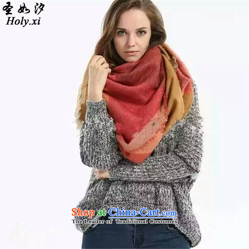 The Holy as pat (holy.xi) autumn and winter spell Color Plane Collision color large scarf ultra-us thick towel warm and stylish large shawl QS6937 orange