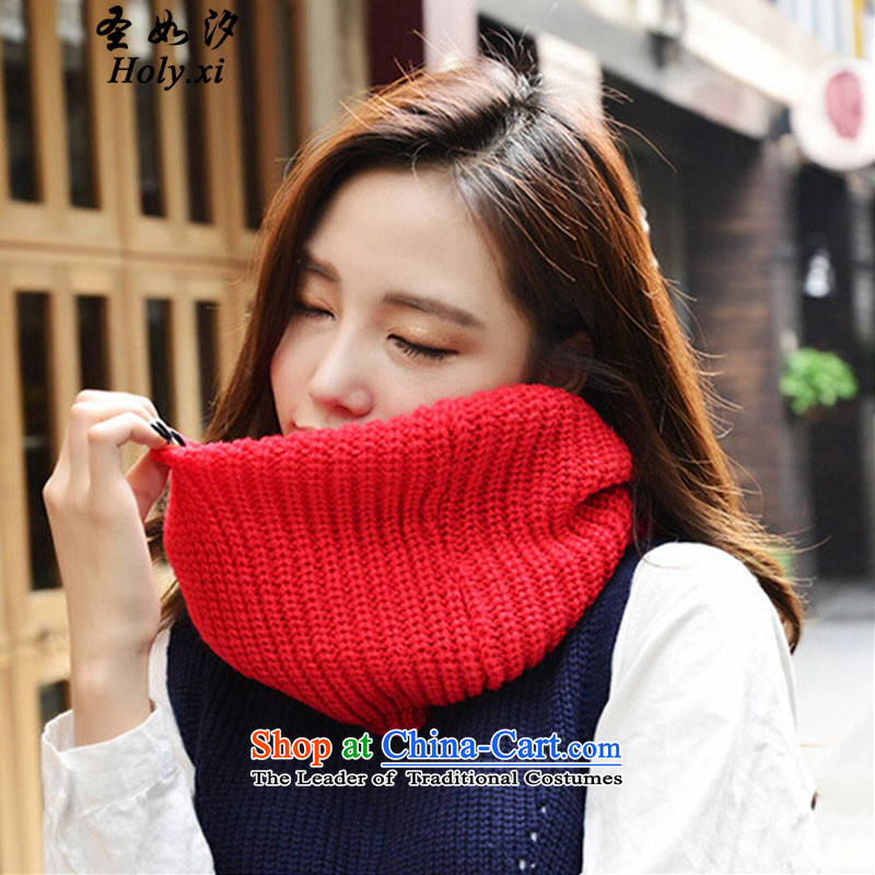 If PAT (holy.xi san) Korean couples scarf autumn and winter solid color thick warm chokeholds head a QS6938 men and women knitted red
