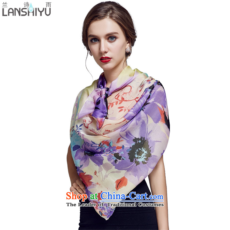 Ho Shih rain silk chiffon classy and towel stamp large size herbs extract shawl LSYW07503591400 light violet