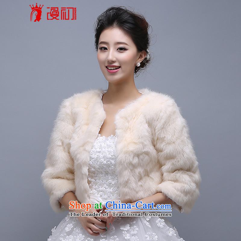 2015 new bride shawl winter, intensify thick warm shawl white hair shawl wedding shawl champagne color #3