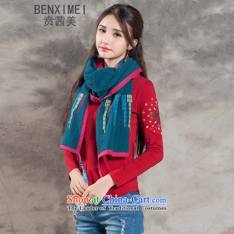 Mrs Ure American 8510# Ben autumn and winter new women of ethnic embroidery color plane collision with Fancy Scarf cotton linen edging long shawl Grand Prix will blue