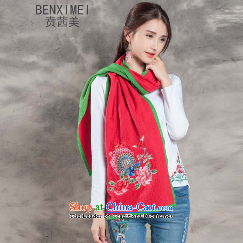 Mrs Ure American 8511_ Ben autumn and winter Ms. New Long Fancy Scarf two with women knocked color cotton linen ethnic Peacock Embroidered scarf red are code