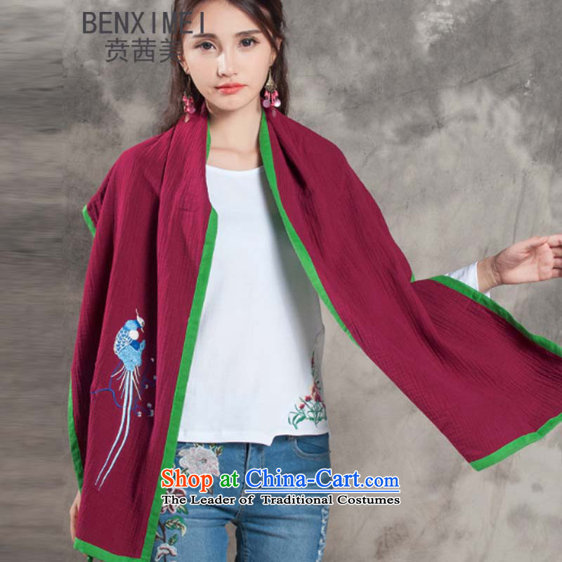 Mrs Ure 8512_ American nation ben wind autumn and winter new retro cotton linen china wind flower pattern embroidery flower Fancy Scarf two with women will wine red
