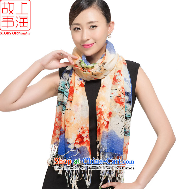 Shanghai Story new woolen scarves stamp, warm winter long shawl butterfly dance medley聽178010聽Blue orange