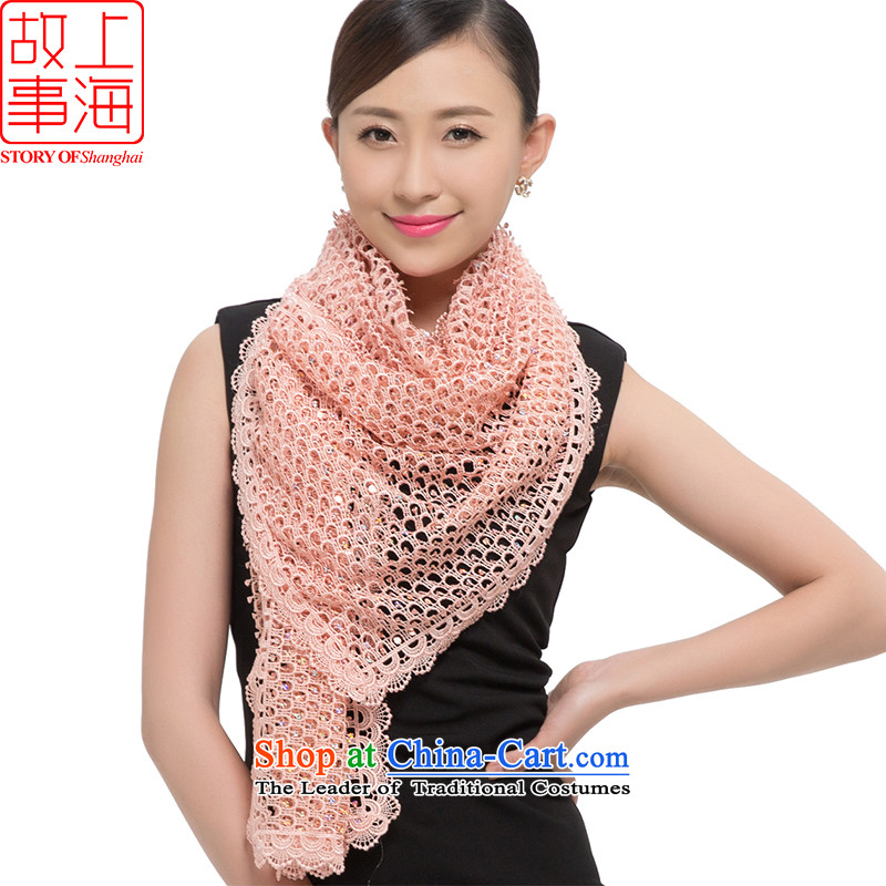 Shanghai Story 2015 new stylish light slice scarves, warm winter long glittering stars 178035 shawl Pink