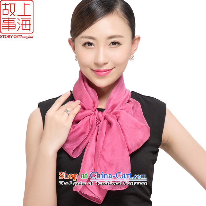 Shanghai Story 2015 new silk scarves female summer sunscreen herbs extract beach towel gittoes scarf pure sky 187067 rubber red