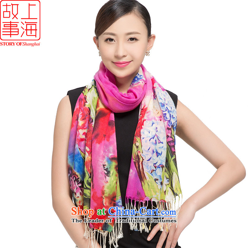 Shanghai Story聽2015 new stamp Ms. scarves wool warm winter long shawl hyacinths 178011 in Purple