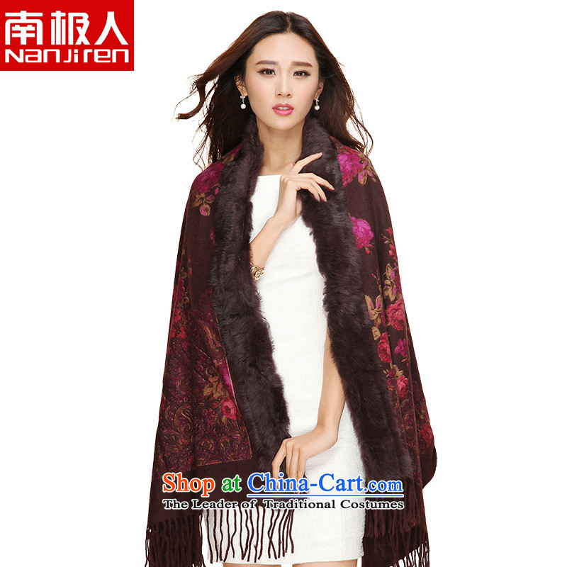 The Antarctic _nanjiren_ Ms. autumn and winter wool woolen scarves embossed fur shawl deep coffee