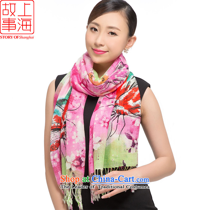 Shanghai Story new woolen scarves stamp, warm winter long shawl butterfly dance medley聽178010聽in Purple