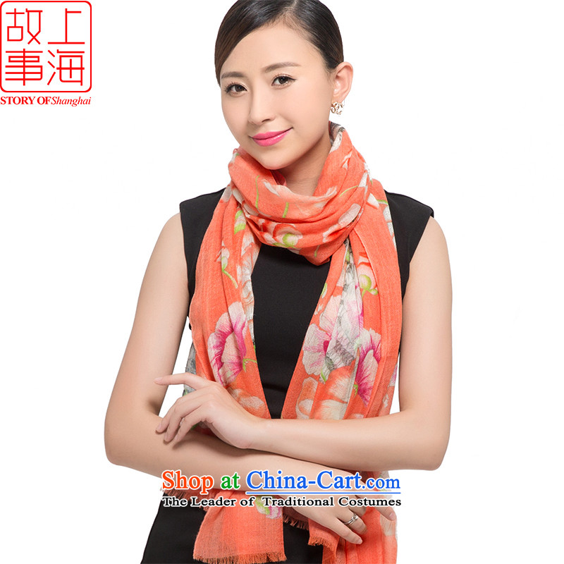 Shanghai Story 2015 new 200 support Ms. pashmina warm winter Thick Long shawl live 178024 orange