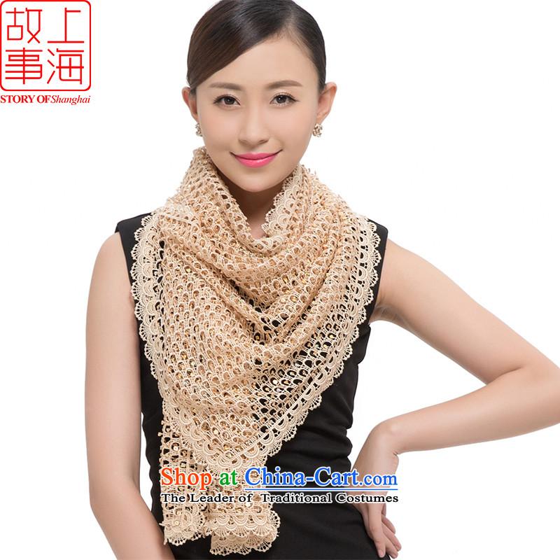 Shanghai Story聽2015 new stylish light slice scarves, warm winter long glittering stars 178035 shawl beige
