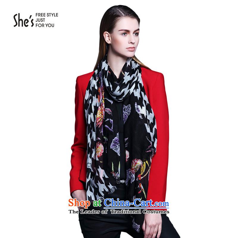 She's flower chidori plaid woolen scarves long autumn and winter warm shawlSSP95193344313A0