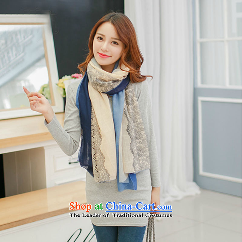 Shu Beth autumn and winter new Korean president cotton linen scarf stylish long lace silk scarf trendy stamp blue shawl