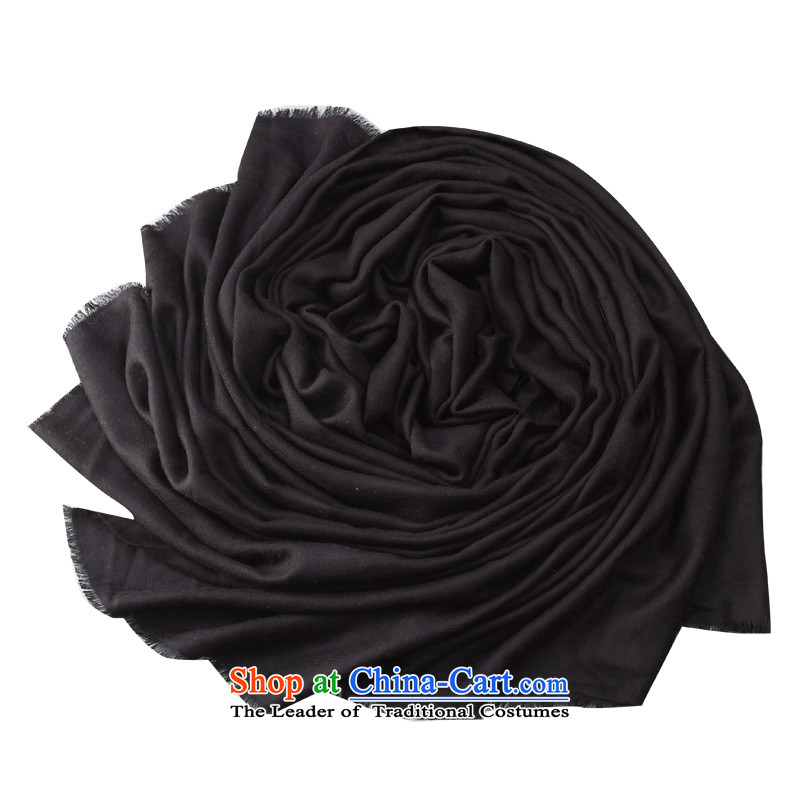 Shanghai Story autumn and winter, extra-long thick solid color 100_ wool Fancy Scarf two black