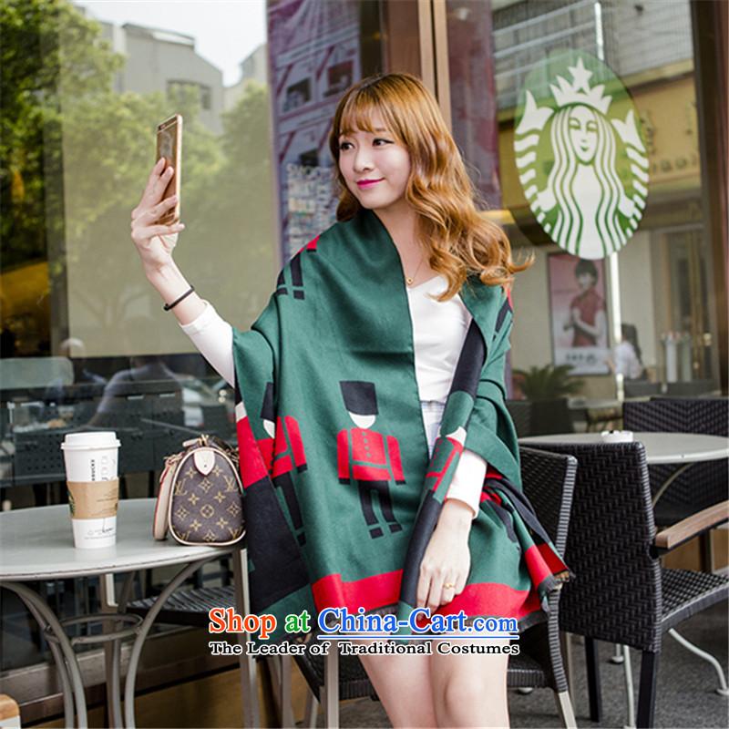Wooler scarf female autumn and winter pashmina shawl thick long dark green shawl聽65_190cm Korean