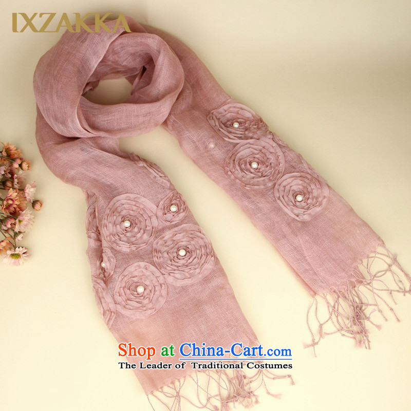 Eika IXZAKKA Fancy Scarf two female linen manually with the end of the scarf plate Flower nail pearl autumn air-conditioning scarf oversized long scarf silk scarf as usual zongzi -met first