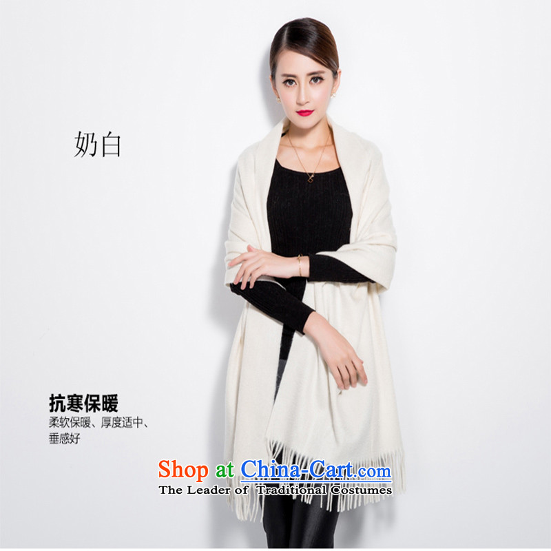 Uyuk Solid Color pashmina girl of autumn and winter long winter Ms. thick Fancy Scarf two color with the 9 optional cream
