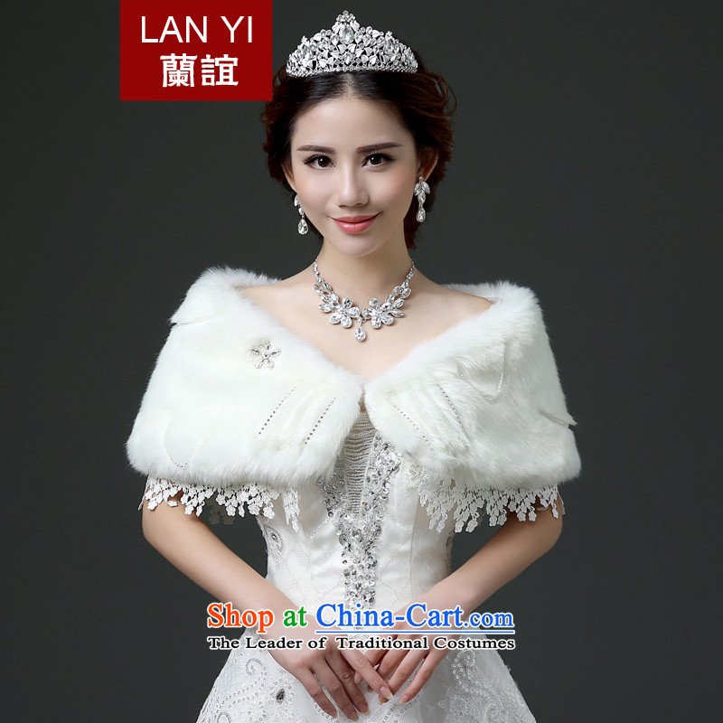 Estimated 2015 autumn and winter Yi New marriages gross shawl Korean rabbit wool wedding dress thick manually Stitch pearl white cape Warm White