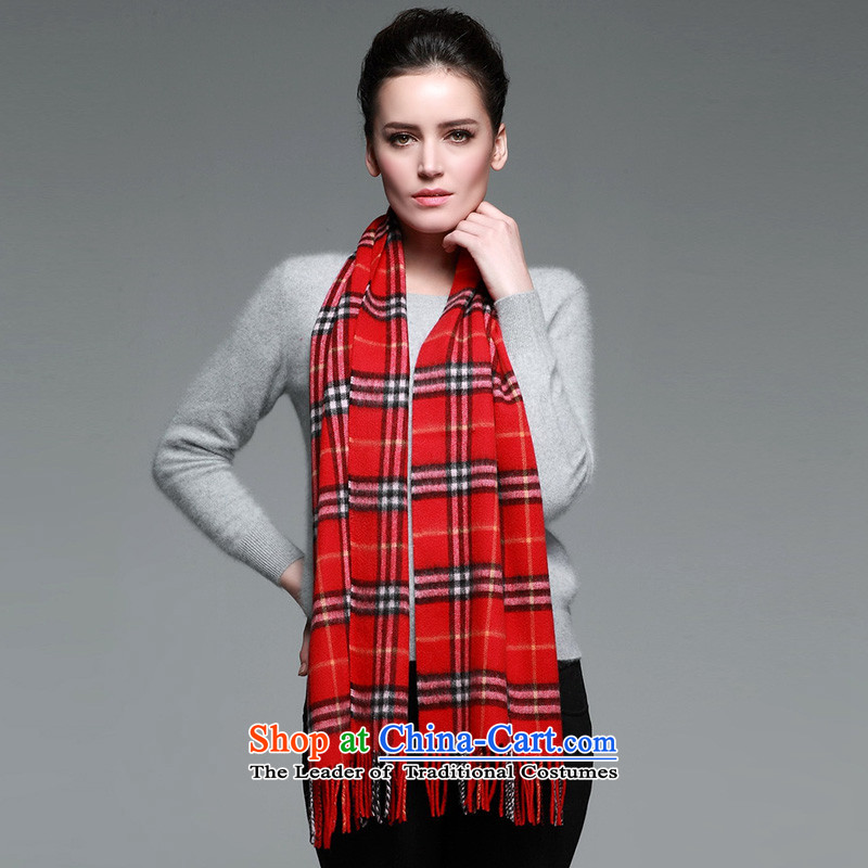 The autumn and winter Cashmere wool scarves new taxi long grid men and women of the scarf gift box small red.