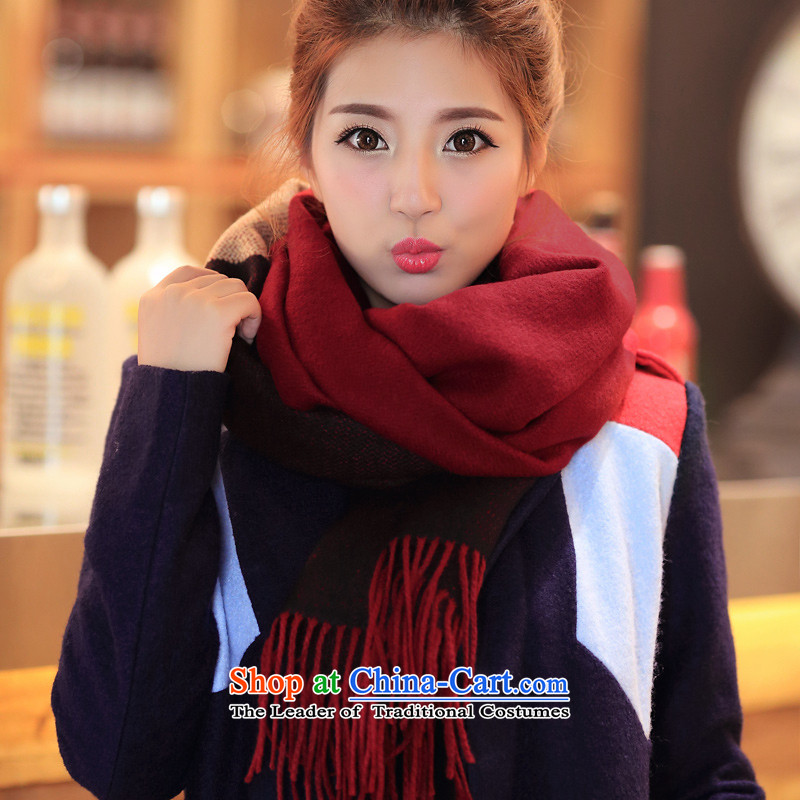 Ms. Maha thick warm and stylish edging emulation cashmere, spring and autumn winter Fancy Scarf two with women in air-conditioning shawl wine red