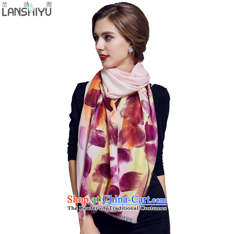Ho Shih rain Australian wool scarves, autumn and winter hand painted large size long shawl LSYW07503721100 colorful Purple