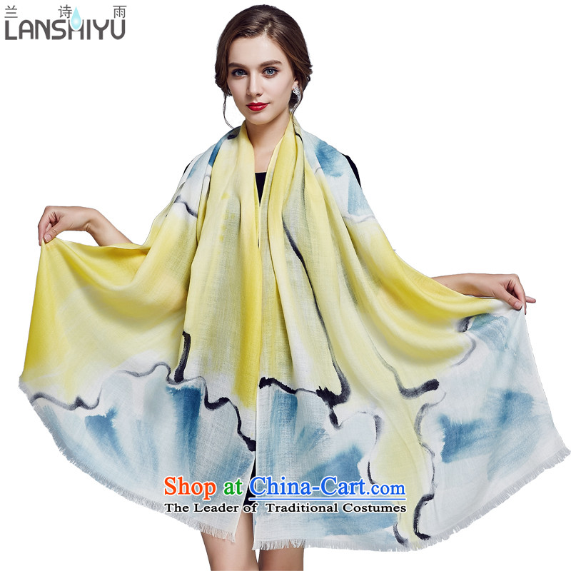 Ho Shih rain Australian wool scarves, autumn and winter hand painted large size long shawl LSYW07503721100 personality graffiti