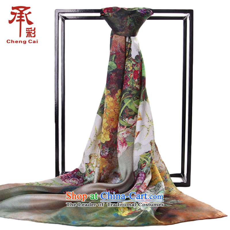 Ms. silk scarves digital inkjet herbs extract Fancy Scarf Two with a flower in the romance of the West Chamber - Green flowers.