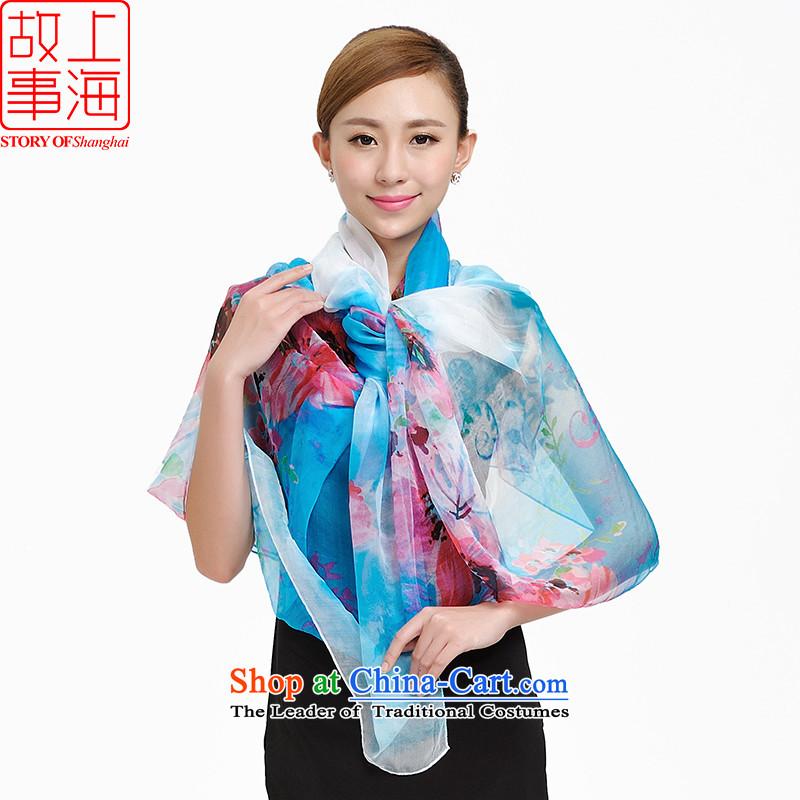 Shanghai Story silk gittoes silk scarf sunscreen long beach towel flowers faintly聽168038聽Blue