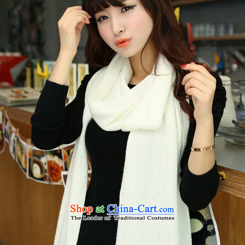 Ms. scarves autumn and winter new grid warm longer shawl Korean long) broadening knitting emulation cashmere wild a solid color two-sidedK30-- pure white