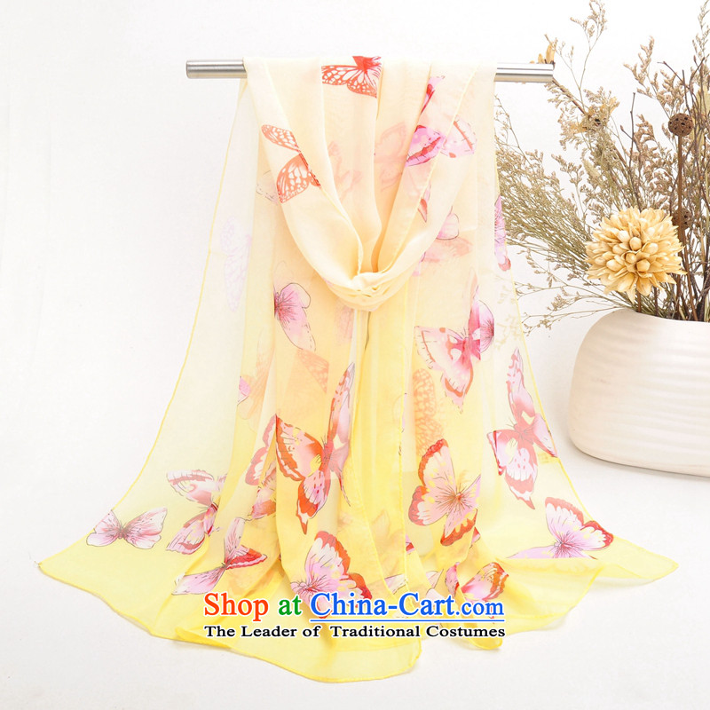 Wild female silk scarf chiffon long beach towel air-conditioning shawl scarves sunscreen masks in052 Huang170-50