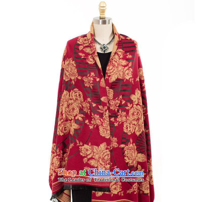 The charming smile, temperament and stylish peony flowers extra large scarf shawl in autumn and winter grand prix and classy towel older mother female tango red