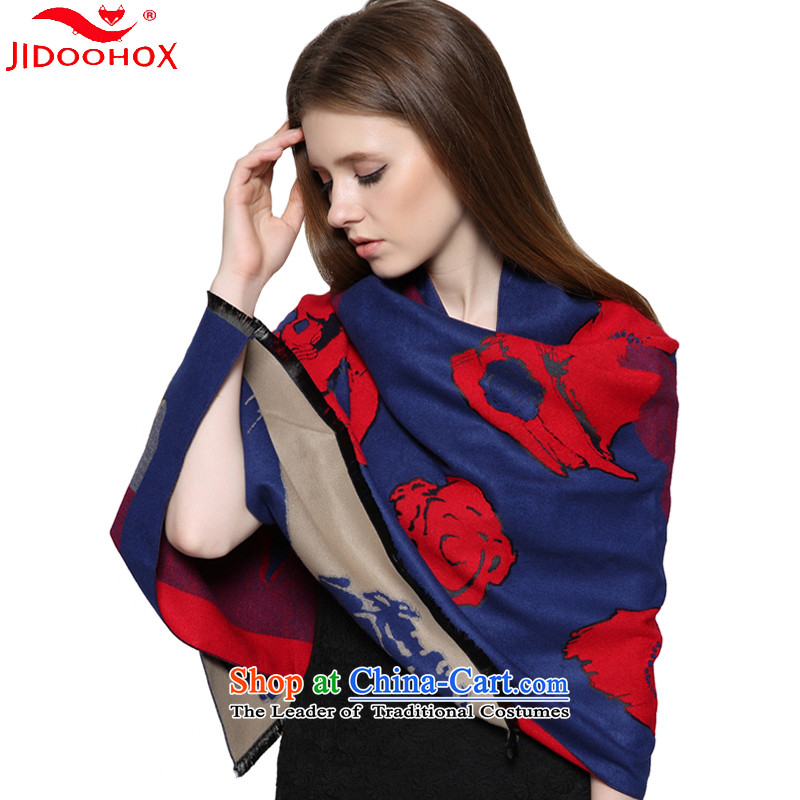 The end of the scarf female autumn and winter JIDOOHOX cashmere shawls Korean Stamp long thick Fancy Scarf double-sided with a warm blue