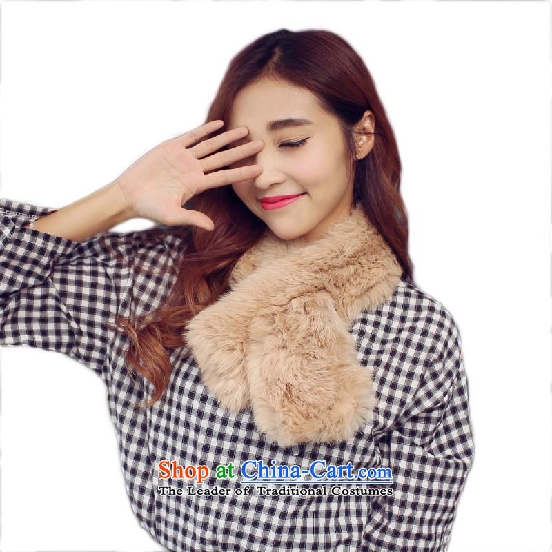Harper Angel pure color Korean winter Rabbit fur grass scarf female thick warm winter Ms. a scarf khaki