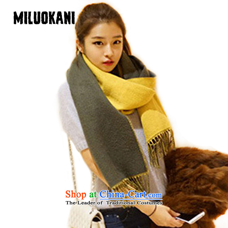 Western style of the scarf female two-sided warm pure color wild shawl scarf W109 Wong coffee color
