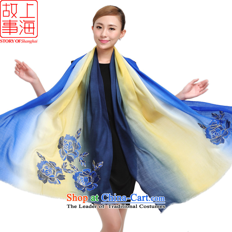 Shanghai Story 100 o wool shawl embroidered with lift, warm winter  Dance of the stylish scarf silk 177040 yellow and blue