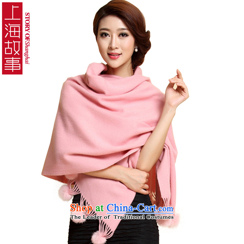 Shanghai Story thick wool scarves, fur winter 2000X700MM large warm Lamb Wool Velvet shawl pendants Pink